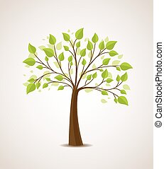 Vector illustration of a tree with green leaves