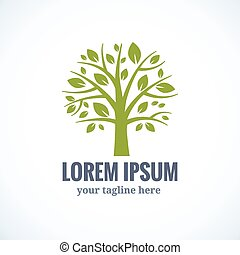 Green tree vector logo design template. Plant, nature and...