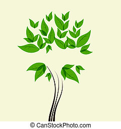 Green tree - Vector picture with green tree and space for...
