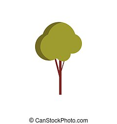 Green tree with a rounded crown icon, flat style