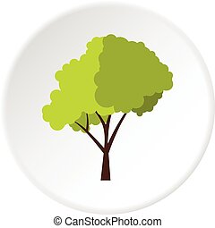 Green tree with fluffy crown icon circle