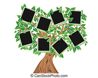green tree with frames for your photos