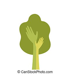 Green Tree With Hand Logo Icon Flat