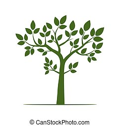 Green Tree with Leaf. Vector Illustration.