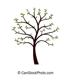 Green Tree with leaves on white background. Vector Illustration.