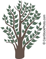 Green Tree with leaves Vector Illustration.