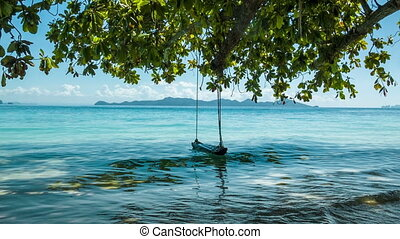 Green tree with lonely swing and sea