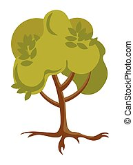 Green tree with roots vector cartoon illustration.