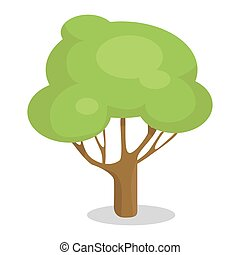 Green Tree with Trunk Vector Illustration Icon