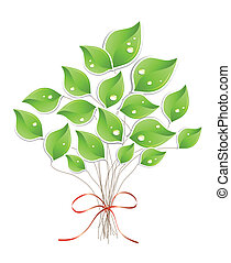 Green tree with water droplets. Vector