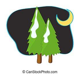 Green Trees and Moon at Night
