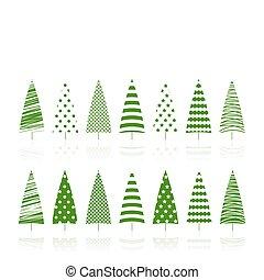 Green trees decoration set.