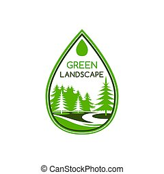 Green landscape design icon template for landscaping and green gardening designing company or eco city home. Vector parkland garden or park trees symbol for outdoor urban horticulture