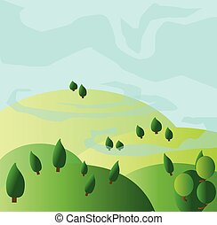Green trees growing on yellow hills