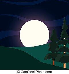 green trees hills moon natural landscape