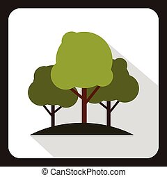 Green trees icon, flat style
