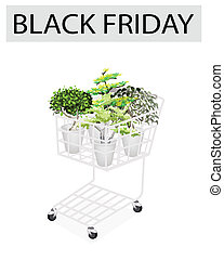 Green Trees in Black Friday Shopping Cart
