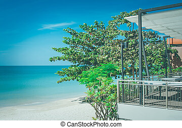 Green trees on sand beach with beautiful seascape view and blue sky in the background at Chao Lao Beach, Chanthaburi Province, Thailand.