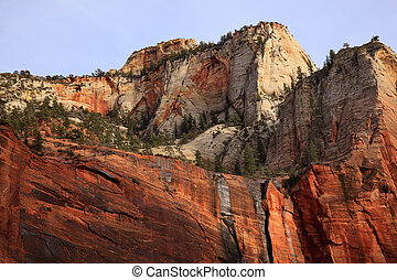 Green Trees Red White Canyon Walls Temple of Sinawava Zion Canyon National Park Utah Southwest