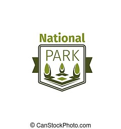 Green trees vector icon for national park - National park...
