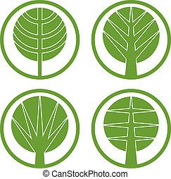 Green trees vector round icon set.