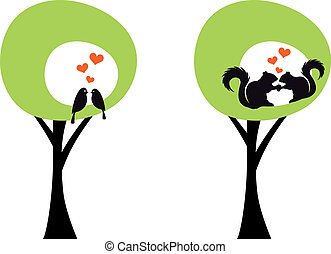 trees with birds and squirrels, vec