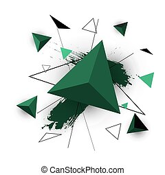 Green triangle abstract on white background