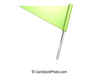 Green triangle flag pin