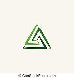 green triangle symbol logo sign element vector icon