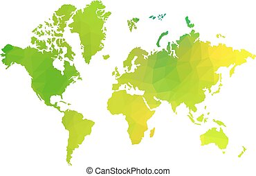 green triangle world map vector