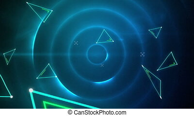 Green triangles against moving circles of light on black