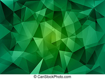 Green Triangles - Triangles background. Green vector...