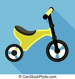 Green tricycle icon, flat style