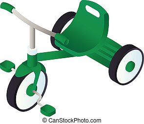 Green tricycle icon, isometric style