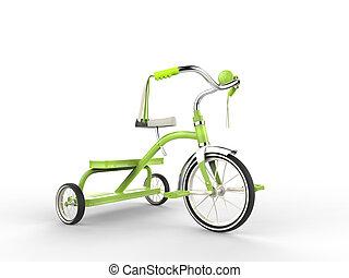 Green tricycle - studio shot