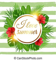 Green tropical background with flowers