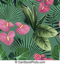 Green tropical leaves and flowers seamless pattern
