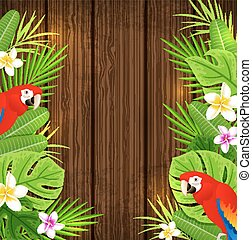 Green tropical leaves and red parrots