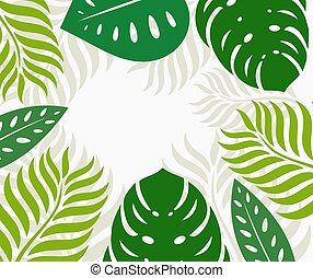 Green tropical leaves border background.