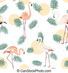 Green tropical leaves pink flamingo sun moon round