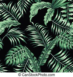 Green tropical leaves seamless pattern black background