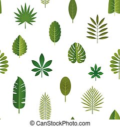 Green tropical leaves, vector seamless pattern background.