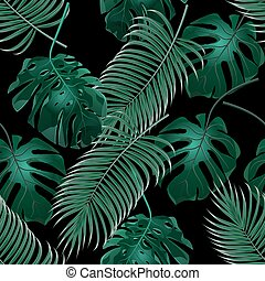 Green tropical palm leaves and monstera. Jungle thickets....