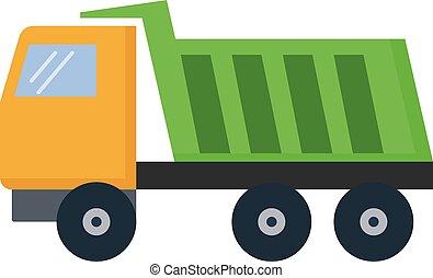 Green truck, illustration, vector on white background.