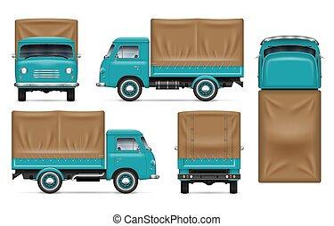 Green truck vector mockup on white