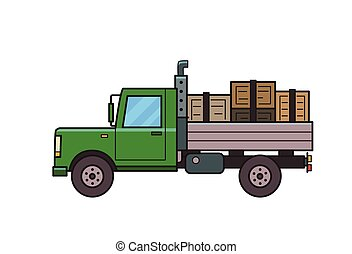 Green truck with boxes in the trunk. Loaded heavy car, side view. Isolated image on white background. Vector illustration. Flat style.