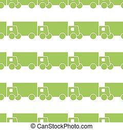 Green trucks seamless pattern