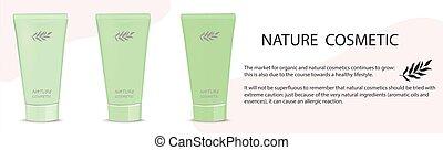 Green tubes of cream natural cosmetics - Vector illustration