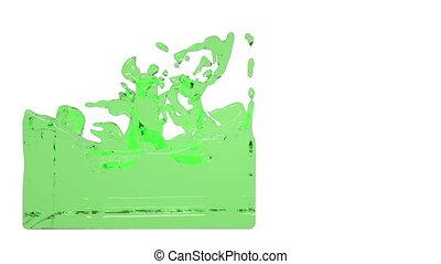 green turbulent liquid filling a container - green turbulent...