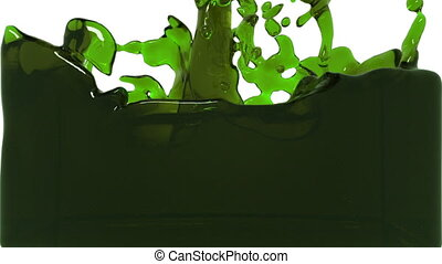 green turbulent liquid filling a container. Oil - green...